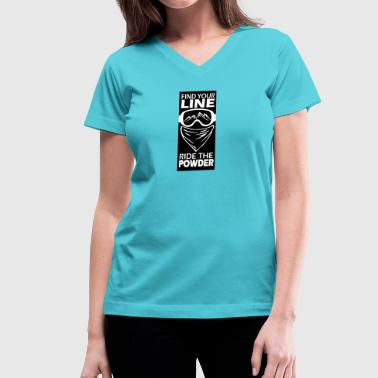 find your line ride the powder black - Women's V-Neck T-Shirt