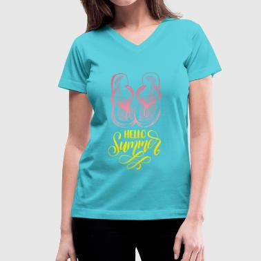 Hello Summer - Women's V-Neck T-Shirt