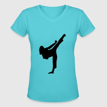 Martial Arts fighter - woman - Women's V-Neck T-Shirt