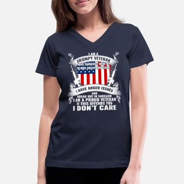 I Am A Grumpy Veteran Funny Veteran Gift T-Shirt - Women's V-Neck T-Shirt