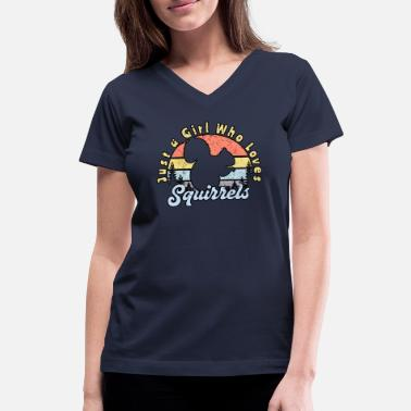 Rehabb Girls Squirrel Lover - Women's V-Neck T-Shirt