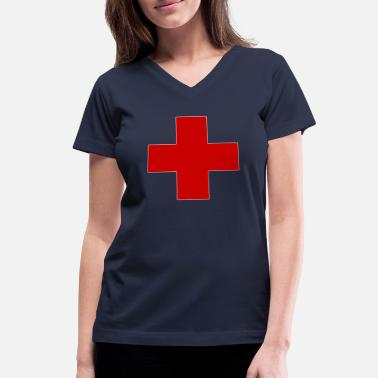 Red Cross Red Mood Cross - Women's V-Neck T-Shirt