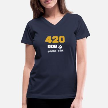 Surprise 60 birthday 420 dog years old Birthday - Women's V-Neck T-Shirt