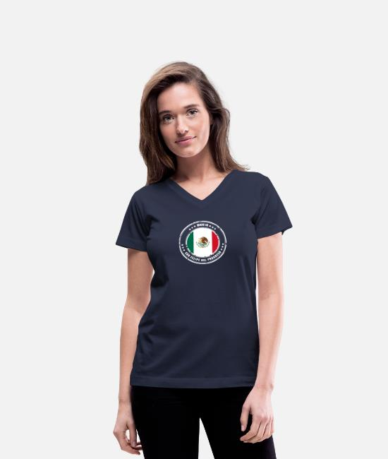 Mexican T-Shirts - MADE IN SAN FELIPE DEL PROGRESO - Women's V-Neck T-Shirt navy