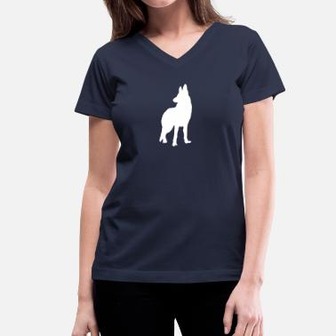 German Shepherd Silhouette german shepherd silhouette - Women's V-Neck T-Shirt