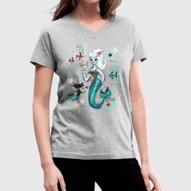 Martini Mermaid Blonde - Women's V-Neck T-Shirt