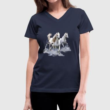 Horses - Women's V-Neck T-Shirt