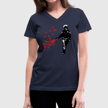 Pepper Spray Cop Police - Street Art Pepper Spray Cop Butterfly - Women's V-Neck T-Shirt