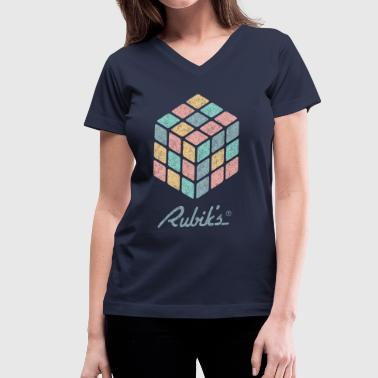 Rubik's Cube Pastell-Colored Print - Women's V-Neck T-Shirt