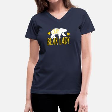 Funny Bear Crazy Bear Lady - Women's V-Neck T-Shirt