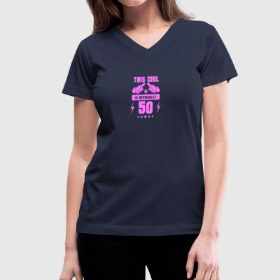 This Girl Is Officially 50 - Women's V-Neck T-Shirt