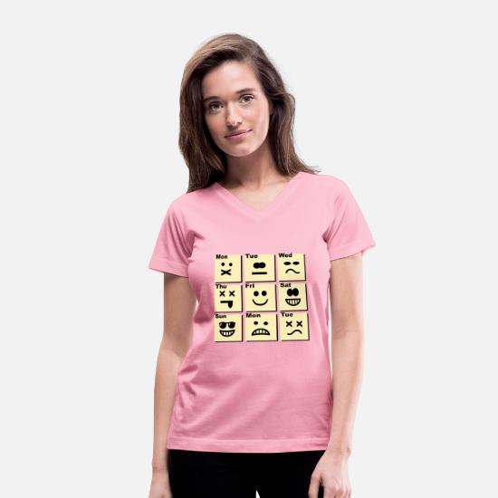 Cool T-Shirts - Everyday life - emoticons - Women's V-Neck T-Shirt pink