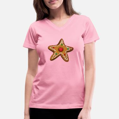 Cookie Decorating Gingerbread star. Cookies, christmas cookies. - Women's V-Neck T-Shirt
