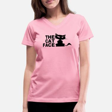 Cat Face Kitten Cats / Kitten T-shirt - The Cat Face - Women's V-Neck T-Shirt