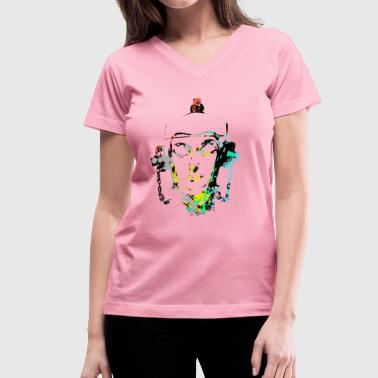 Headset Fire Hydrant by patjila2 - Women's V-Neck T-Shirt