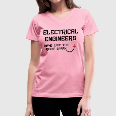 Electrical Engineer Right Spark - Women's V-Neck T-Shirt