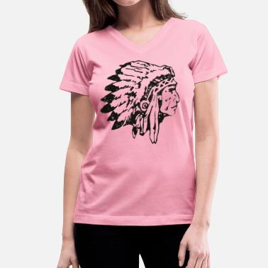 native indian chief - Women's V-Neck T-Shirt