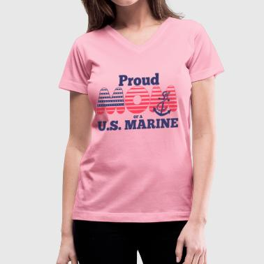 VT086_ proud MOM of us marine - Women's V-Neck T-Shirt