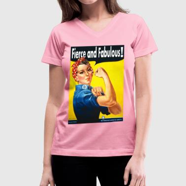 Girl Power Fierce and Fabulous - Women's V-Neck T-Shirt