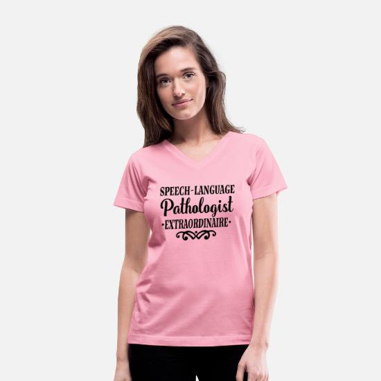 Language T-Shirts - Speech Language Pathologist SLP - Women's V-Neck T-Shirt pink