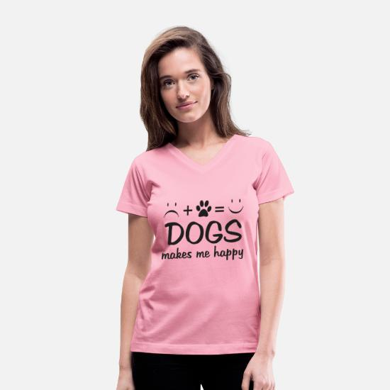 Age T-Shirts - VT032_ DOG makes me happy - Women's V-Neck T-Shirt pink