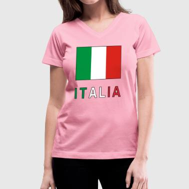Italian Flag and Italia - Women's V-Neck T-Shirt