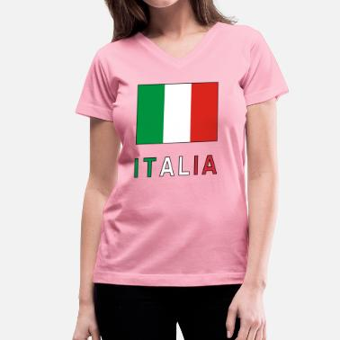 Italian Flag And Italia Italian Flag and Italia - Women's V-Neck T-Shirt