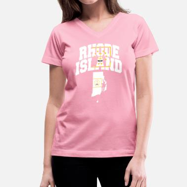 Rhode Island Rhode Island Flag Map - Women's V-Neck T-Shirt