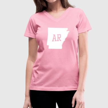 Arkansas State White Map - Women's V-Neck T-Shirt