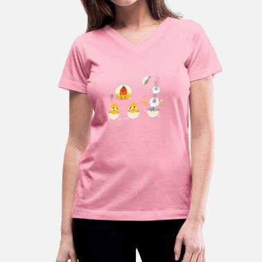 Eggshell little chick as a superhero - Women's V-Neck T-Shirt