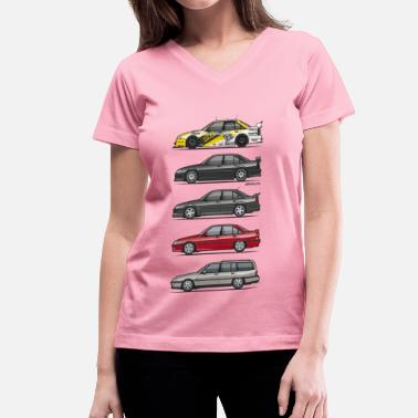 Dtm Stack of Opel Omegas / Vauxhall Carlton A - Women's V-Neck T-Shirt