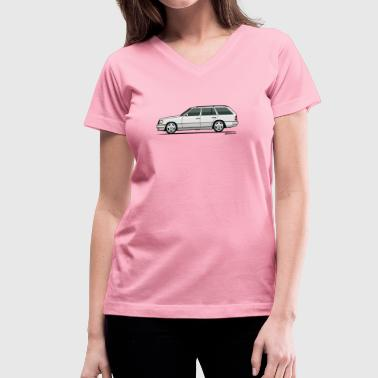European Car Mercedes W124 300TE Wagon (White) - Women's V-Neck T-Shirt