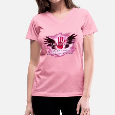 Guardian Angel Guardian Angel hope for a cure Breast Cancer Aware - Women's V-Neck T-Shirt
