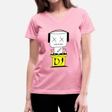 Discjockey DJ Puppet  XL - Women's V-Neck T-Shirt