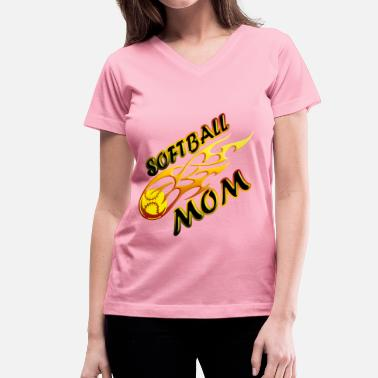 Softball With Flames Softball Mom Ball On Fire - Women's V-Neck T-Shirt