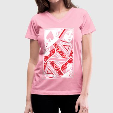 Queen of Spades - Queen Card - Women's V-Neck T-Shirt