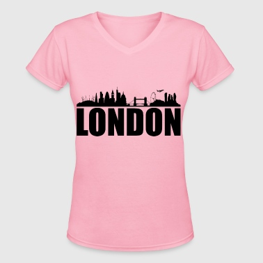 london skyline silhouette - Women's V-Neck T-Shirt