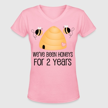 2nd Anniversary Funny Gift 2 Years Together - Women's V-Neck T-Shirt