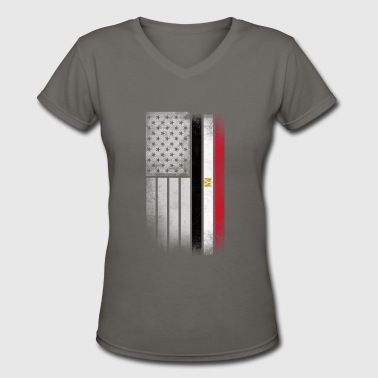 Half Egyptian Half American Roots Egyptian American Flag - Women's V-Neck T-Shirt
