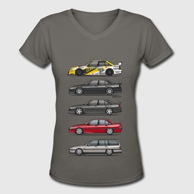 Stack of Opel Omegas / Vauxhall Carlton A - Women's V-Neck T-Shirt