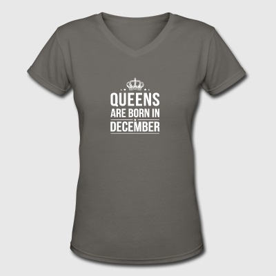 Queens Are Born In December Shirt - Women's V-Neck T-Shirt