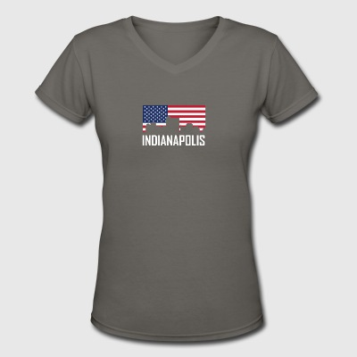 Indianapolis Indiana Skyline American Flag - Women's V-Neck T-Shirt