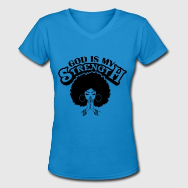 Black Hairstyle Black Women Praying God Believe Afro Hairstyle - Women's V-Neck T-Shirt