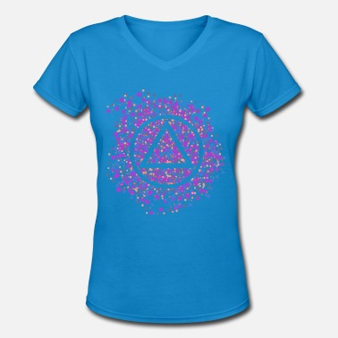 12 Step Aa Na Recovery 12-Step Recovery Triangle-circle Color Spatter - Women's V-Neck T-Shirt