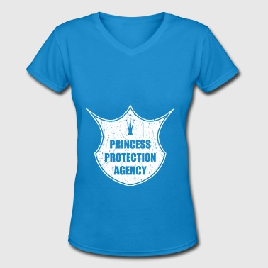 Princess Daughter Protect the princess, my daughter and angel - Women's V-Neck T-Shirt