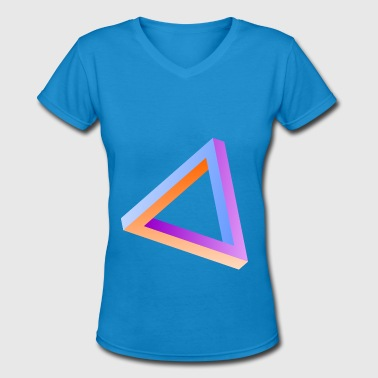 Impossible triangle visual optical illusion - Women's V-Neck T-Shirt