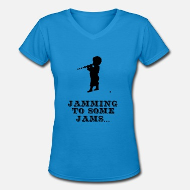 Jam Session Jamming to some Jams - Women's V-Neck T-Shirt