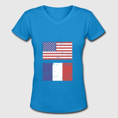 France Usa Flag United States Flag & France Flag - Women's V-Neck T-Shirt