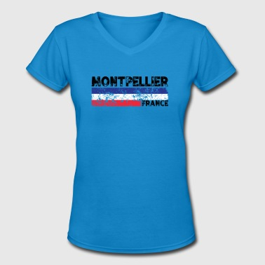 Strasbourg Montpellier France Flag Tricolor Distressed French - Women's V-Neck T-Shirt