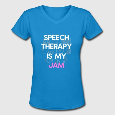Strawberry Jam Speech Therapy is My Jam - Women's V-Neck T-Shirt